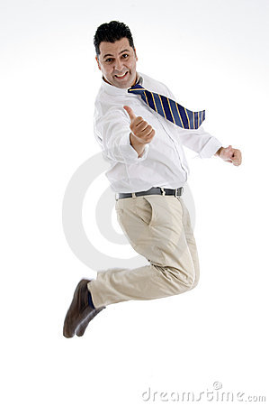 Businessman showing approval sign