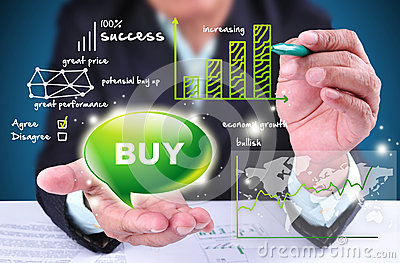 Businessman showing buy trading sign