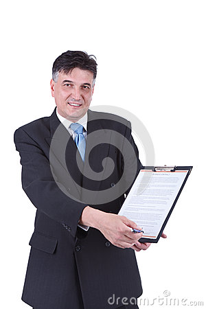 Businessman showing contract