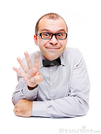 Businessman showing four fingers