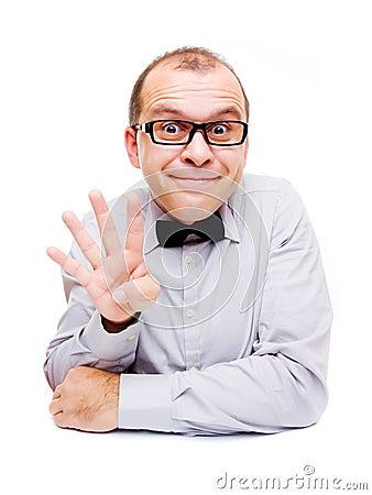 Businessman showing four fingers