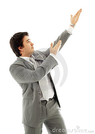 Businessman showing imaginary product #2
