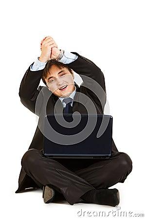 Businessman showing partnership gesture