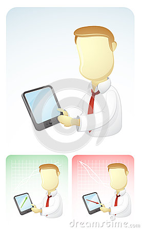 Businessman is Showing results in Tablet