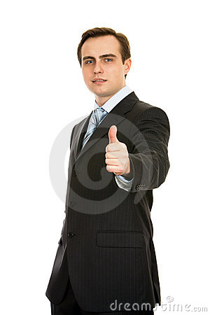 Free Businessman Showing Thumb-up. Isolated On White. Royalty Free Stock Photos - 8197608