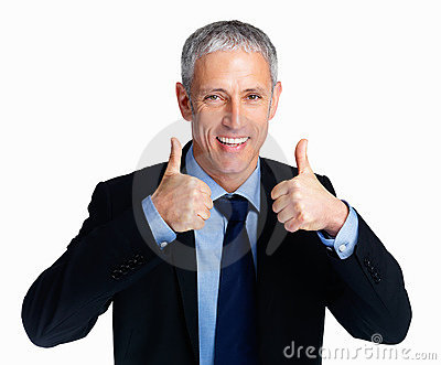 Businessman showing thumbs up from both the hands