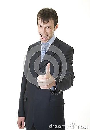 Businessman shows OK sign
