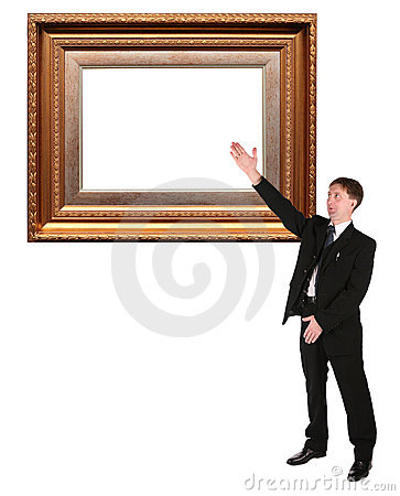 Businessman shows on Picture frame baget