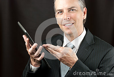 Businessman Shows Tablet