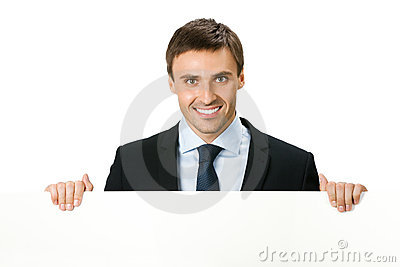 Businessman with signboard, on white