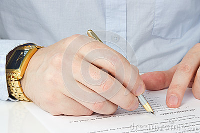 Businessman signing agreement