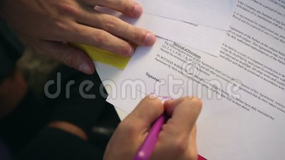 Businessman signing a contract stock footage