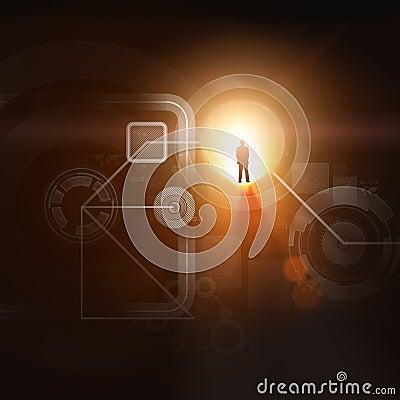 Businessman silhouette in media picture