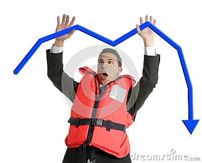 Businessman sinking in crisis, lifejacket metaphor