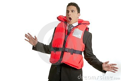 Businessman sinking in crisis, lifejacket metaphor