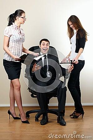Businessman sit in armchair