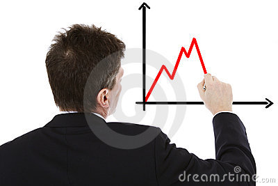 Businessman sketching negative chart