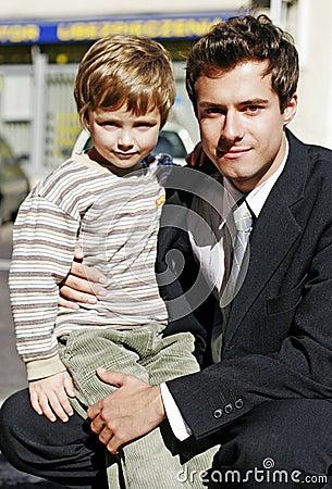 Businessman with a small  boy