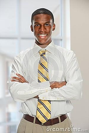 Businessman Smiling Indide Office