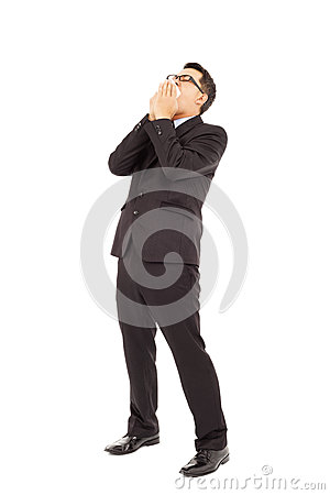 Businessman is sneezing with bending body