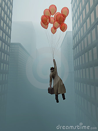 Free Businessman Soaring On Balloon In City Stock Photo - 18227680