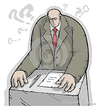 Businessman solving a dilemma