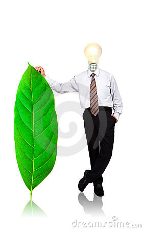 Businessman stand with green leaf