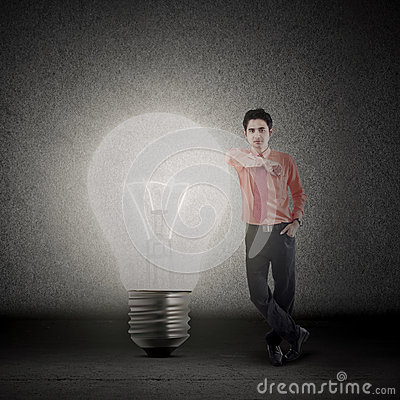 Businessman and bright idea