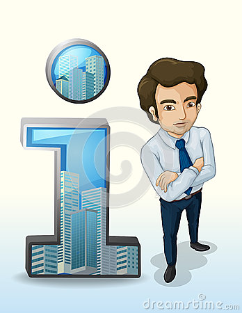 A businessman standing beside the buildings inside the number on