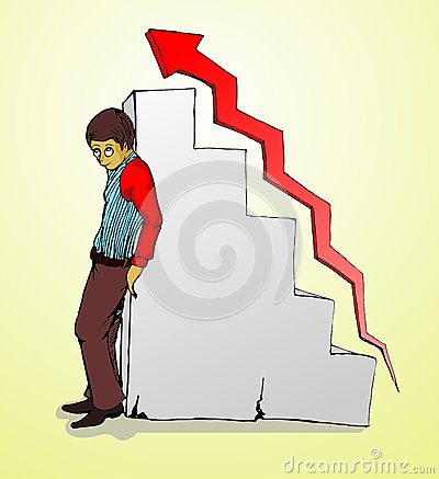businessman standing, chart and red grow arrow