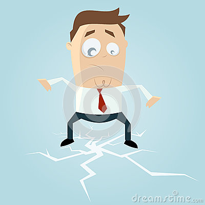 Businessman standing on cracking ice