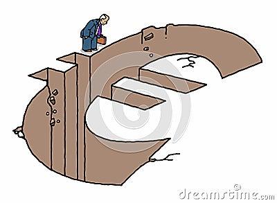 Businessman standing by euro shape hole