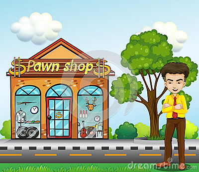 A businessman standing in front of the pawnshop