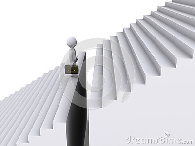 Businessman standing before gap of stairs