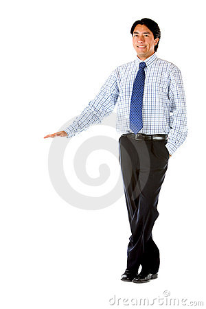 Businessman standing next to something