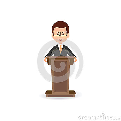 Businessman standing to speaking and presentation on podium. Vector Illustration