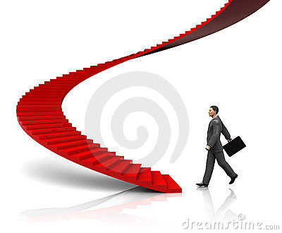 Businessman step to stairway