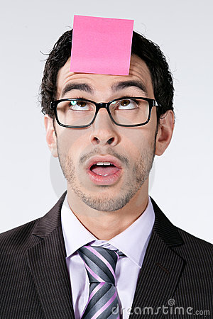 Businessman with sticky note