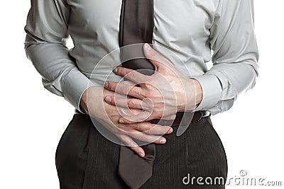 Businessman with stomach ache