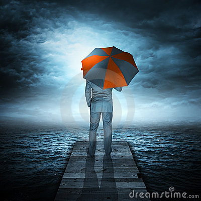 Free Businessman & Storm At Sea Stock Images - 19206414