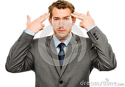 Businessman stressed pressure headache worry isolated on w hite