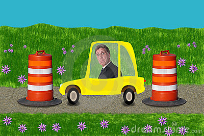 Businessman Stuck Road Construction Driving Work