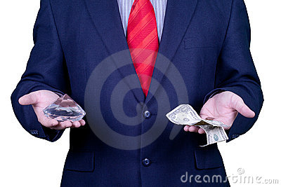 Businessman in suit red tie with money and diamond