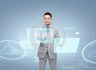 Businessman In Suit Working With Virtual Screens Stock ...