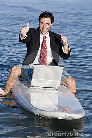 Businessman on Surfboard