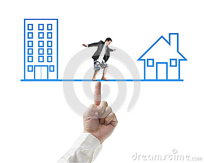Businessman surfing on seesaw with Office and home drawing