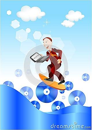 Businessman surfing web