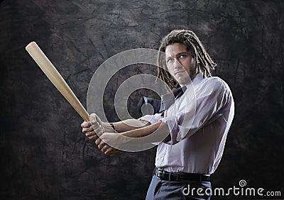 Bet she man swinging bat