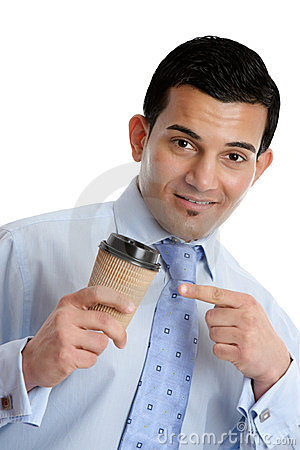 Businessman with a takeaway coffee