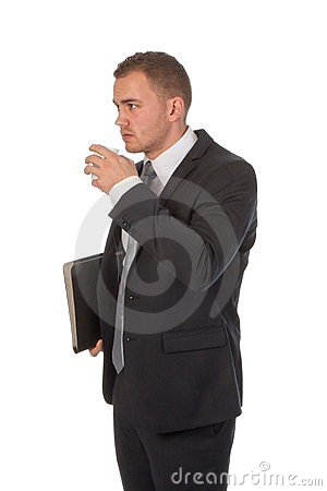 Businessman is taking a small coffee break